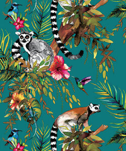 Holden Lemur Birds Jungle Palm Tree Teal Floral Feature Wallpaper