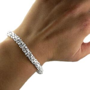 Image Is Loading Sterling Silver Las 7 5 Inch Byzantine Bracelet