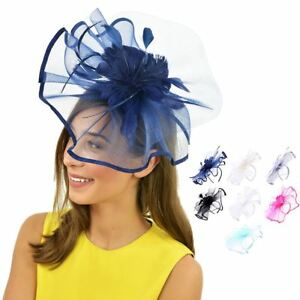 9accfa3a5a0 Image is loading Headband-Flower-Hat-Fascinator-Alice-band-Weddings-Ladies-