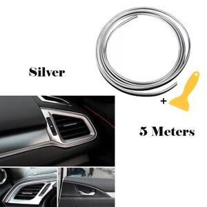 5M-Zierleiste-Universal-Selbstklebend-Kantenschutz-Dekor-Innenausstattung-Silber