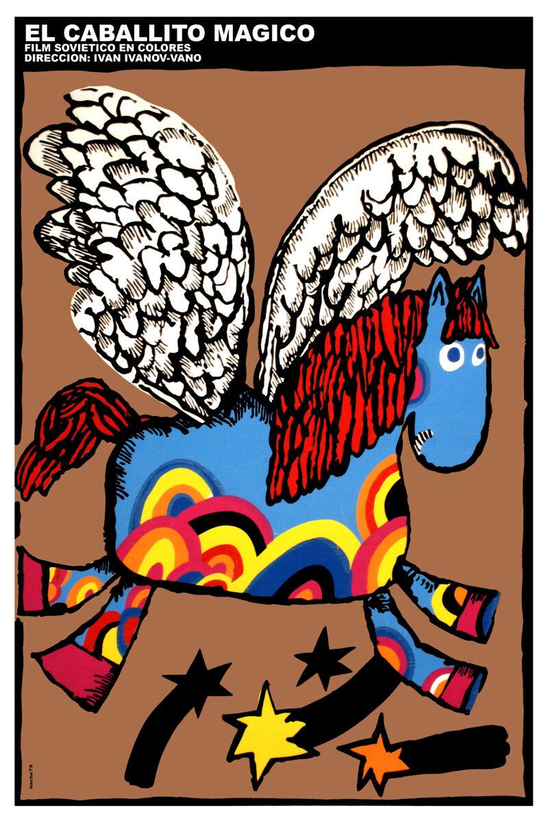 16x20 Decoration CANVAS.Interior room design art.Magic Blau horse.Kids.6628