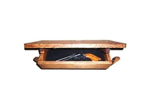 Drop Down Wooden Wall Shelf Hidden Compartment Gun Jewelry Safe