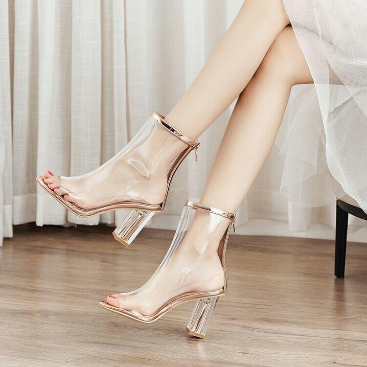 Spring Womens Open Toe Block Heels Transparent European American Cool Boot D354