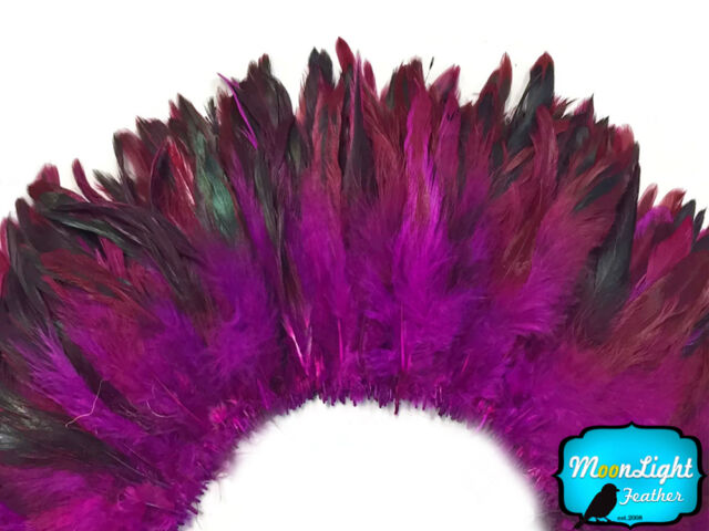 bulk 1 Yard MAGENTA Half Bronze Strung Rooster Schlappen Wholesale Feathers