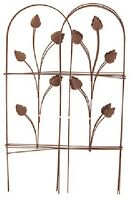 (1) Panacea 32x 8' Folding Garden Fence With Leaves Cameo Brown Fencing 89363