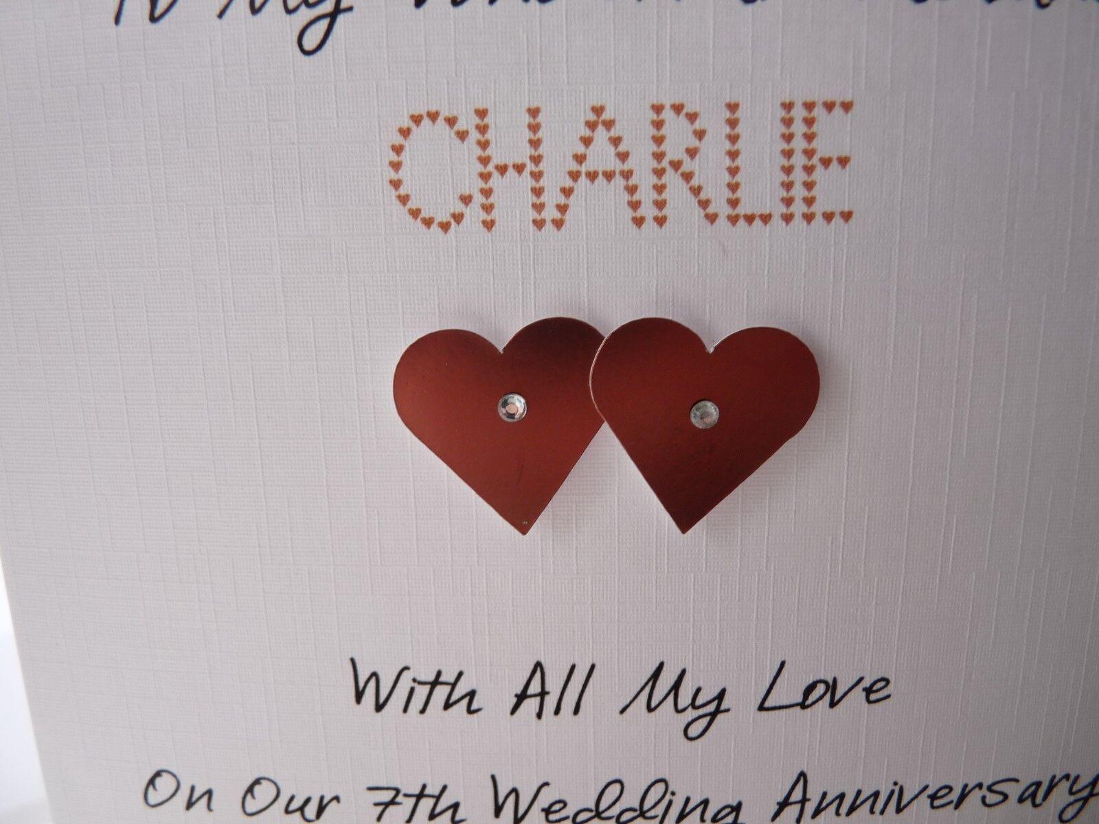 Handmade Personalised Copper 7th Wedding Anniversary Card Husband ...