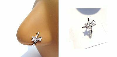 Surgical Steel L Shape Nose Ring Stud Hoop Crossover CZ Crystals 18 gauge 18g