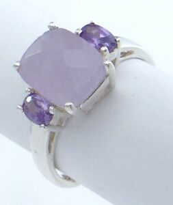 Vintage-Women-Ladies-Size-8-25-US-Amethyst-Stone-Sterling-Silver-925-Ring-G713