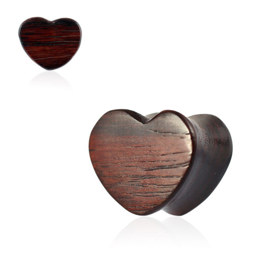 Double Flared Organic Sono Wood Heart Shape Saddle Ear Gauges Plug Sold By Piece