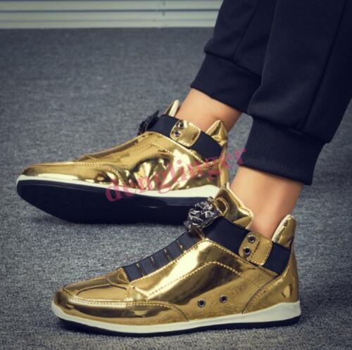 Mens Gold Sneaker Flat Shiny Board Shoes Sport Casual High Top Ankle Boots New