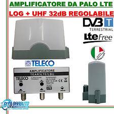 AMPLIFICATORE DA PALO TELECO LOG + UHF 32 dB REGOL. CON FILTRO LTE TEAR3/LBU