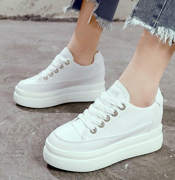 Womens White Sneakers High Wedge Hidden Heels Wedge Platform Casual shoes Lace Up