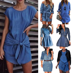 Womens-Denim-Jeans-Mini-Dress-Long-Sleeve-Belted-Casual-T-Shirt-Blouse-Dresses