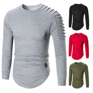 2XL-Mens-Casual-Fold-T-Shirts-Tops-Tee-Crew-Neck-Long-Sleeve-Asymmetric-T-Shirt