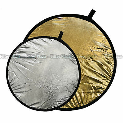 "110cm 43"" 2 in 1 collapsible reflector disc silver gold"
