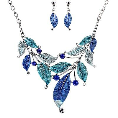 Noble Silver Plated Blue Leaf Branch Crystal Earrings Chain Necklace Jewelry Set
