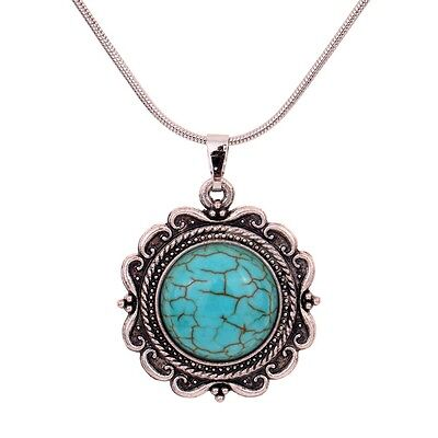 Tibetan Silver Turquoise flower Pendant Necklace long chain sweater jewelry
