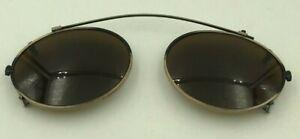 Vintage-Gold-Black-Metal-Oval-Clip-On-Sunglasses-Eyeglasses-Frames