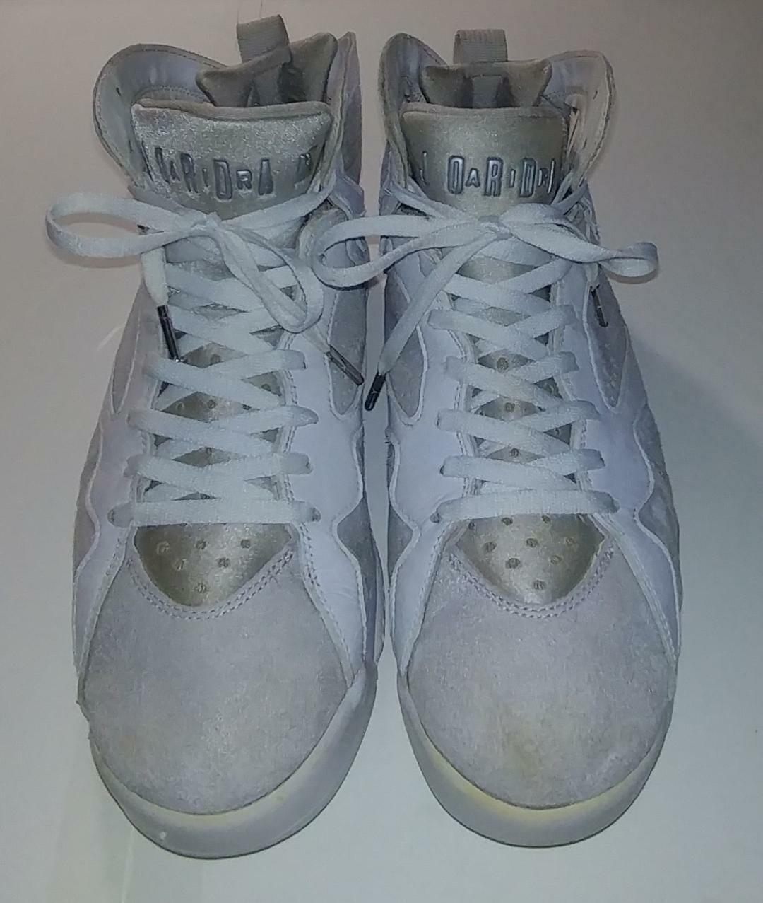 NIKE JORDAN VII 7 RETRO Size 12 PURE PLATINUM WHITE GREY 304775 120 Used