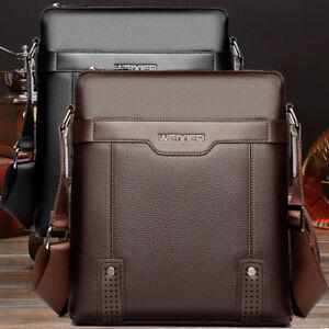 US-Men-039-s-Soft-Leather-Messenger-Bags-Shoulder-Briefcase-Bag-Crossbody-Handbag