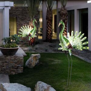 2er Set Pfauen Solar Led Leuchten Aussen Steh Lampen Garten