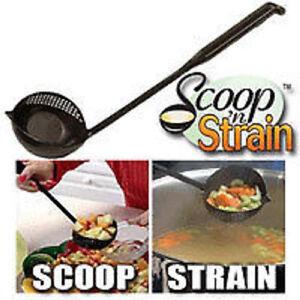 Scoop-N-039-Strain-14-034-Long-Handle-Ladle-Pour-Measure-Stove-Pasta-Soup-BRAND-NEW