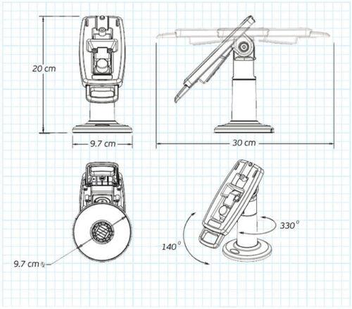 "FirstBase No Lock Ingenico ICT220//250 7/"" Pole Mount Terminal Stand Desktop"