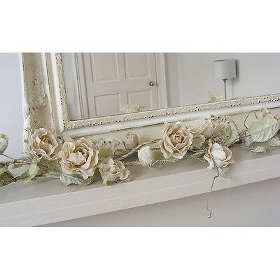 Entusiasta Cream Artificial Rose Garland Wedding Accessory Bedroom Shabby Vintage Chic Gift
