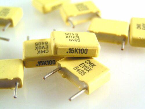 Evox CMK10 154K100L4 0.15uf 100v Metallized Polycarbon Capacitor 10 Pcs OL0630d