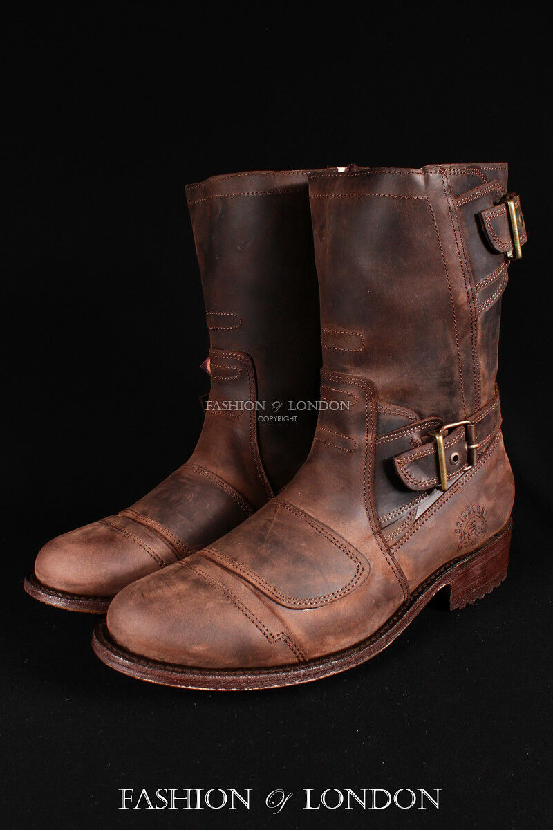 Men's GRINDERS ROUTE 66 Brown Biker Motorcycle Cowboy Mid-Calf Leather Boots