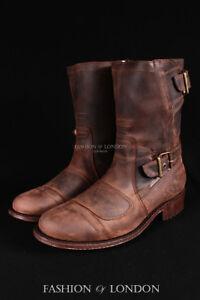 Men-039-s-GRINDERS-ROUTE-66-Brown-Biker-Motorcycle-Cowboy-Mid-Calf-Leather-Boots