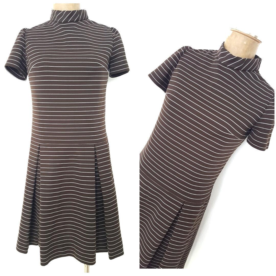 Vintage 60s Striped GOGO Dress Size Medium Pleat Drop Waist MOD Midi