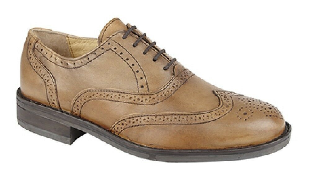 Roamers Oxford M793 Leather Padded Brogue Oxford Roamers Casual Office Shoes 4f5586