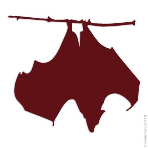 Size #3691 Hanging Bat Decal Sticker Choose Color