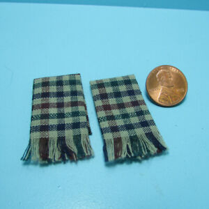 Dollhouse Miniature Kitchen Towel Set Red /& Cream Checkered with Blue Accent