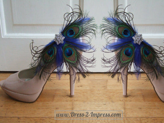 Peacock Feather Crystal Royal Blue Bridal Shoe Clips