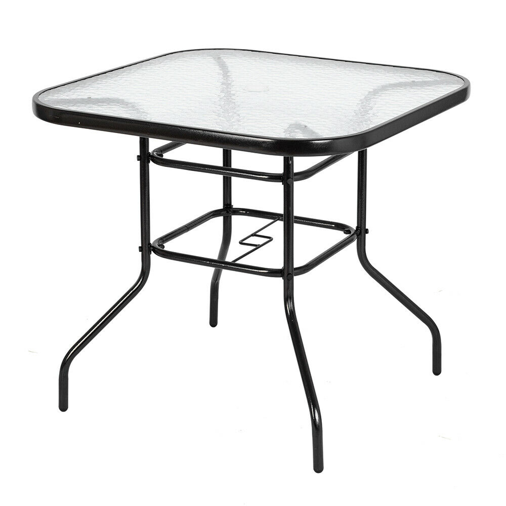 Patio Garden Dining Table Tempered Glass Square Table Top Outdoor Yard  Funiture