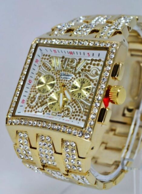 Hip Hop Mens Gold Plated Cubic Zirconia CZ Geneva Bling Iced Out Wrist Watch