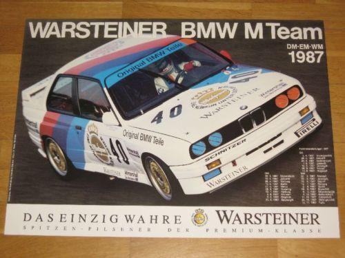 BMW M3 E30 EVO POSTER 27 ORIGINAL VINTAGE in MINT WARSTEINER BMW TEAM