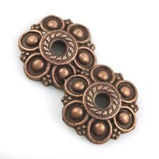 F1414_b*30Pc Copper Tone Flower Floral Round End Beads Cap Charm Spacer Findings