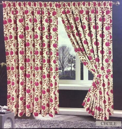 Jacquard Cerise Rose Crème 66 X 72 Prêt Fabriqué Double rideaux à plis plat Cecile