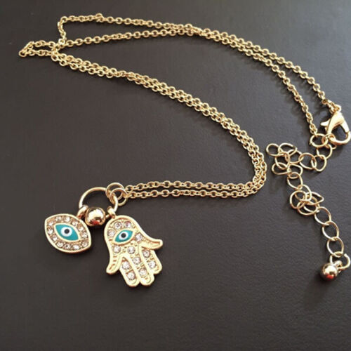 Fatima Palm Necklace Evil Eye Hamsa Hand Chain Pendant Jewelry For Women P0YT