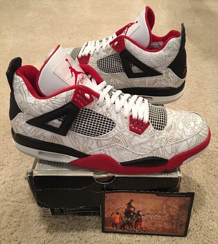 Nike Air Jordan Retro 4 IV White Laser Fire Red Black Size 15 2005