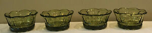 Vintage-Green-Glass-Scallop-Sherbet-Fruit-Dessert-1-Cup-Bowl-Dishes-4-Piece-Set