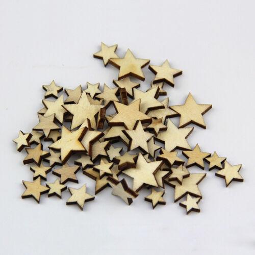 50 x Holz Star Verzierung Scrapbooking PRO Stanzteile Mix Deko DIY