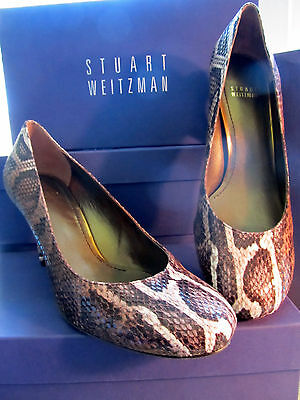 NEW STUART WEITZMAN SZ 6 M WOMENS SHOES  HOLA CHOCOLATE SERPENTEX HEELS LW12642