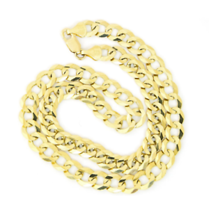 Solid 10k Yellow Gold Comfort Cuban Curb Chain Necklace