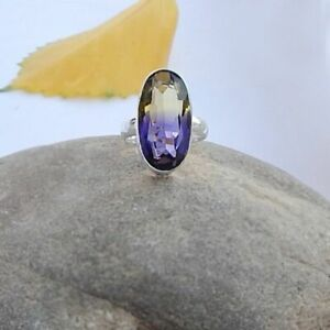 Purple-Yellow-Ametrine-Quartz-925-Sterling-Silver-Artisan-Handmade-Gift-Ring