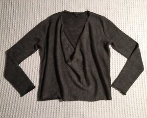 334f8d0e560 EILEEN FISHER Alpaca Merino Wool Draped Cowl Neck Sweater Gray PM ...