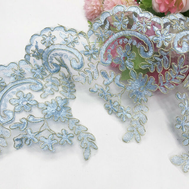 """1 Yard Pretty Blue Floral Lace Trim Embroidered For DIY Craft Wide 10 1//2/"""""""